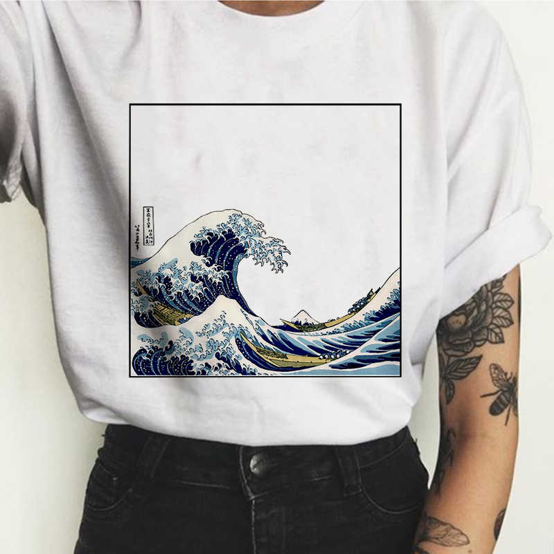 New summer women's fashion Japanese wave printing Harajuku large size S-2XL tide sexy short-sleeved O-neck T-shirt