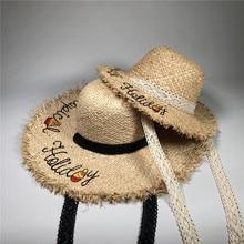 MUQGEW Повседневная родитель-ребенок горячий стиль плетение бумажными трубочками измельченный пляж вышивка Цитата Floppy Edge цвет-блок открытый Солнцезащитная шляпа
