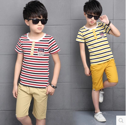 Kids boys short-sleeved suit 2017 new summer children's cotton casual T-shirt big boy two piece shorts girls clothes 3-15 years beanbus summer children s t shirts for boys casual t shirt o neck printing cartoon cotton boys short sleeved t shirt boy clothes