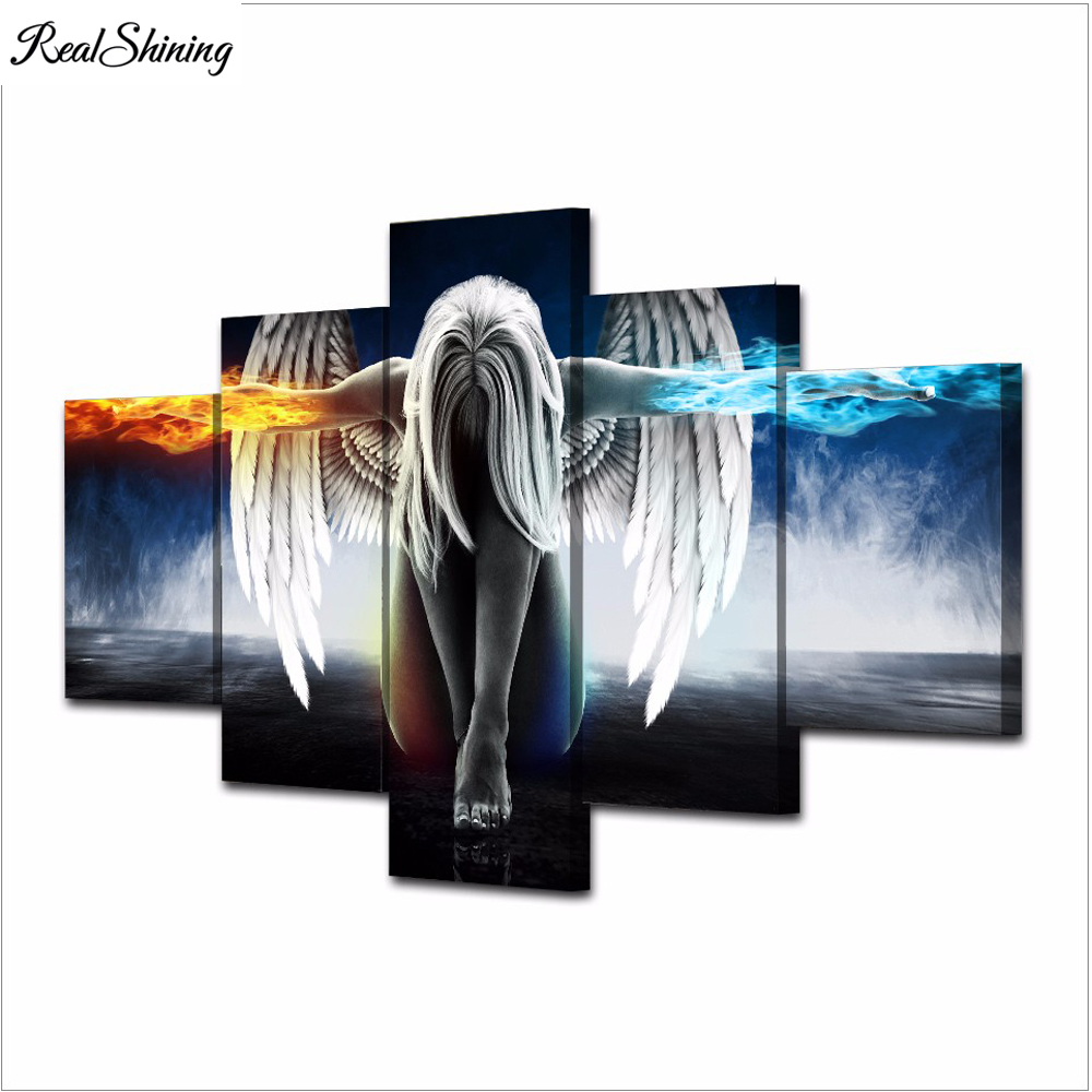REALSHINING 5d diy diamond embroidery angel wing 5PCS diamond painting Cross Stitch full square Rhinestone Multi