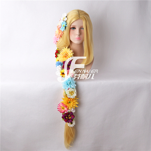 Image 3 - Tangled Cosplay Wig Princess Rapunzel Long Braids Artificial Flowers Headwear Women Blonde Synthetic Hair Adult