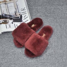 2017 Hot Sale Women Slippers Winter 100% Wool Solid Indoor slippers Comfortable Soft Household Shoes GXLLD