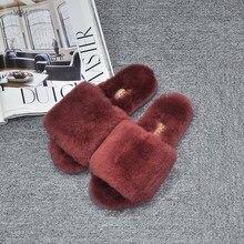 GXLLD Women faux Fur Slippers Fashion Flip Flops Sandals Plush Warm Home Slippers Summer Comfortable Woman Flats Beach Shoes