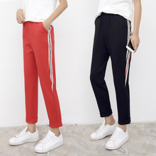 Wide Leg Women Pants Spring Summer Thin Student Sweatpants Nine Pants Loose Casual Trousers High-waist Casual Harem Pants 2019 summer big code harem pants skinny students thin sports pants female loose white side nine points casual women pants