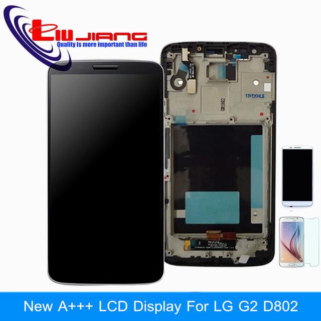 Calidad original lcd pantalla táctil digitalizador asamblea marco para lg g2 d802 d805 d800 d803 d801 con película de vidrio