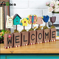 Pastoral Wood Hand painted Welcome Board Flower Animal Wall Decor Creative Wood Craft Coffee Shop Art Craft Home Decor