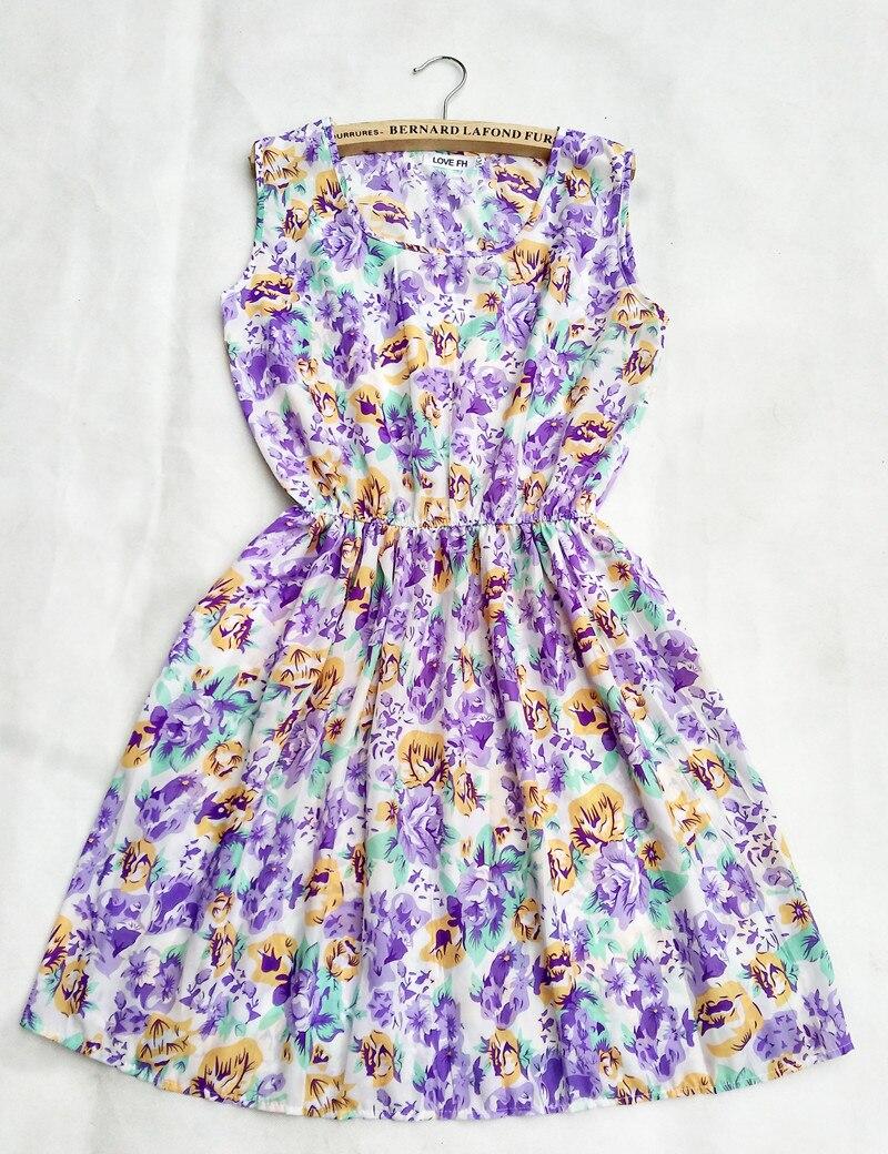 2018 F&H Brand 20 Colors Morning Glory Florals Print Women New Sleeveless Round Neck Dress Saias Femininas Summer Vestido