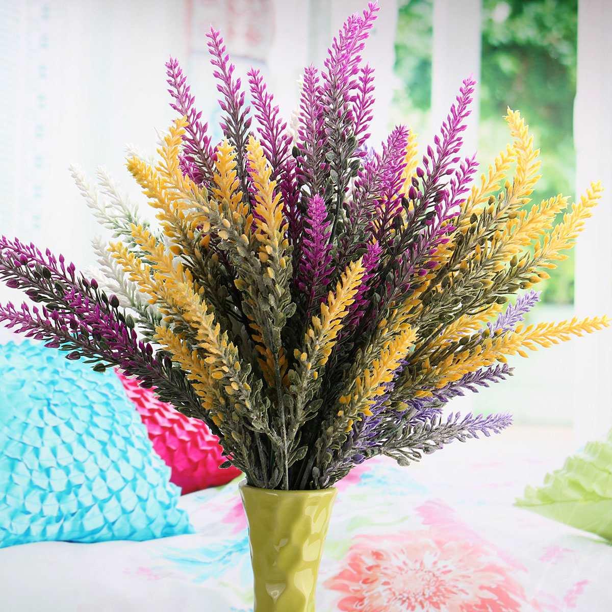 Artificial lavender flower home wedding bridal bouquet for Artificial flower decoration