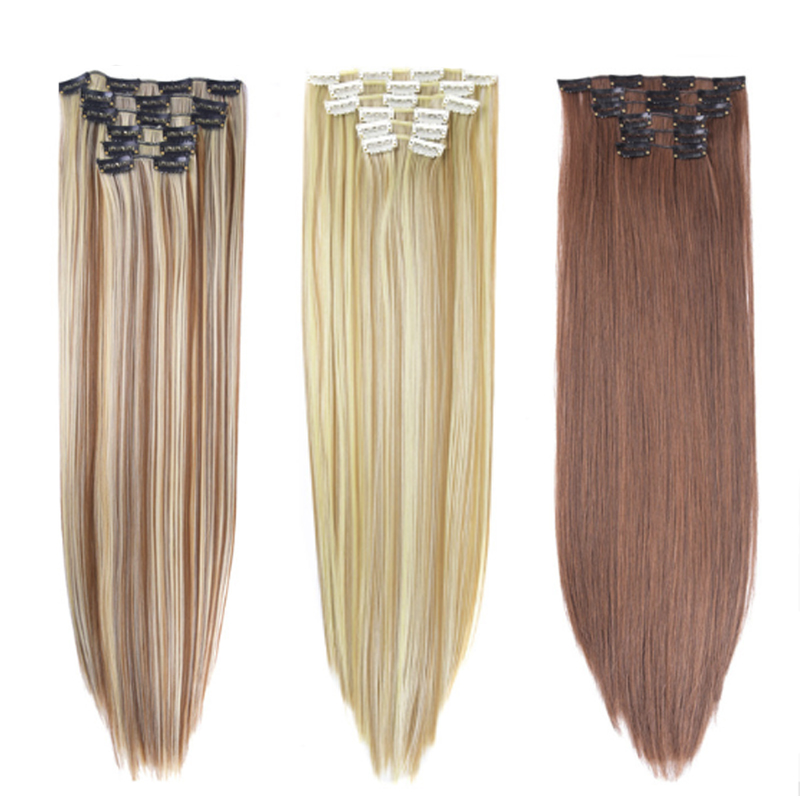 Imstyle 6Pcs/set 14 Colors Available Clip In Hair Extension Synthetic Straight Fake Fals ...