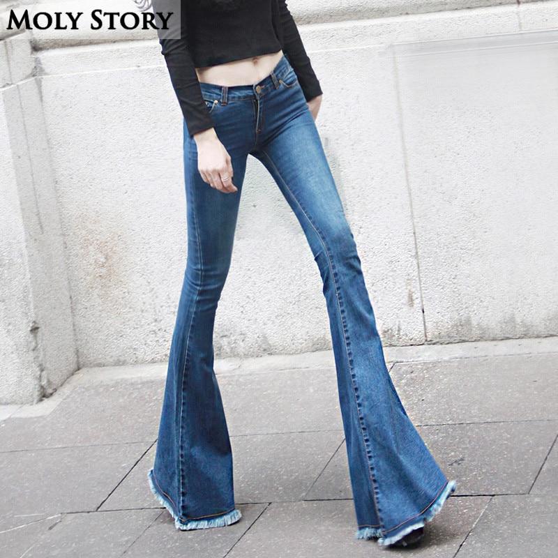 440901ee067f4 Fashion New Vintage Fringe Flare Jeans Sexy Low Rise Skinny Jeans Femme  Hippie Wide Leg Denim