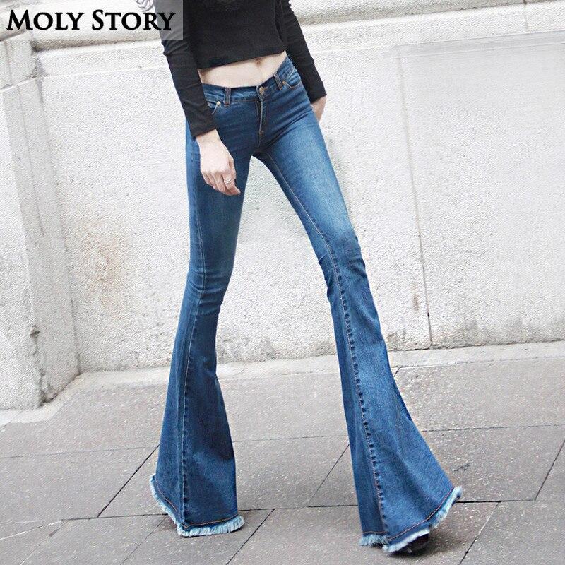 Fashion New Vintage Fringe Flare Jeans Sexy Low Rise Skinny Jeans Femme Hippie Wide Leg Denim Pants Women