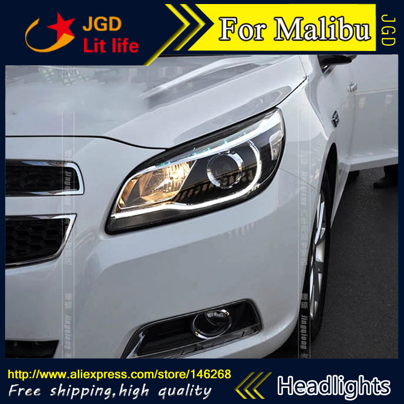Free shipping ! Car styling LED HID Rio LED headlights Head Lamp case for Chevrolet Malibu 2013 Bi-Xenon Lens low beam  free shipping car styling led hid rio led headlights head lamp case for chevrolet camaro bi xenon lens low beam