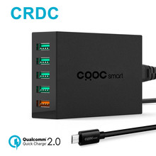 CRDC 54W 5 Port Usb Charger Quick Charge 2.0 Desktop Mobile Phone Charging Adapter for iPhone 7 6s Samsung Xiaomi etc USB Device