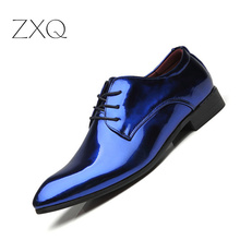 Luxury Men Patent Leather Oxford Shoes Pointed Toe Business Wedding For Dress Zapatos de hombre