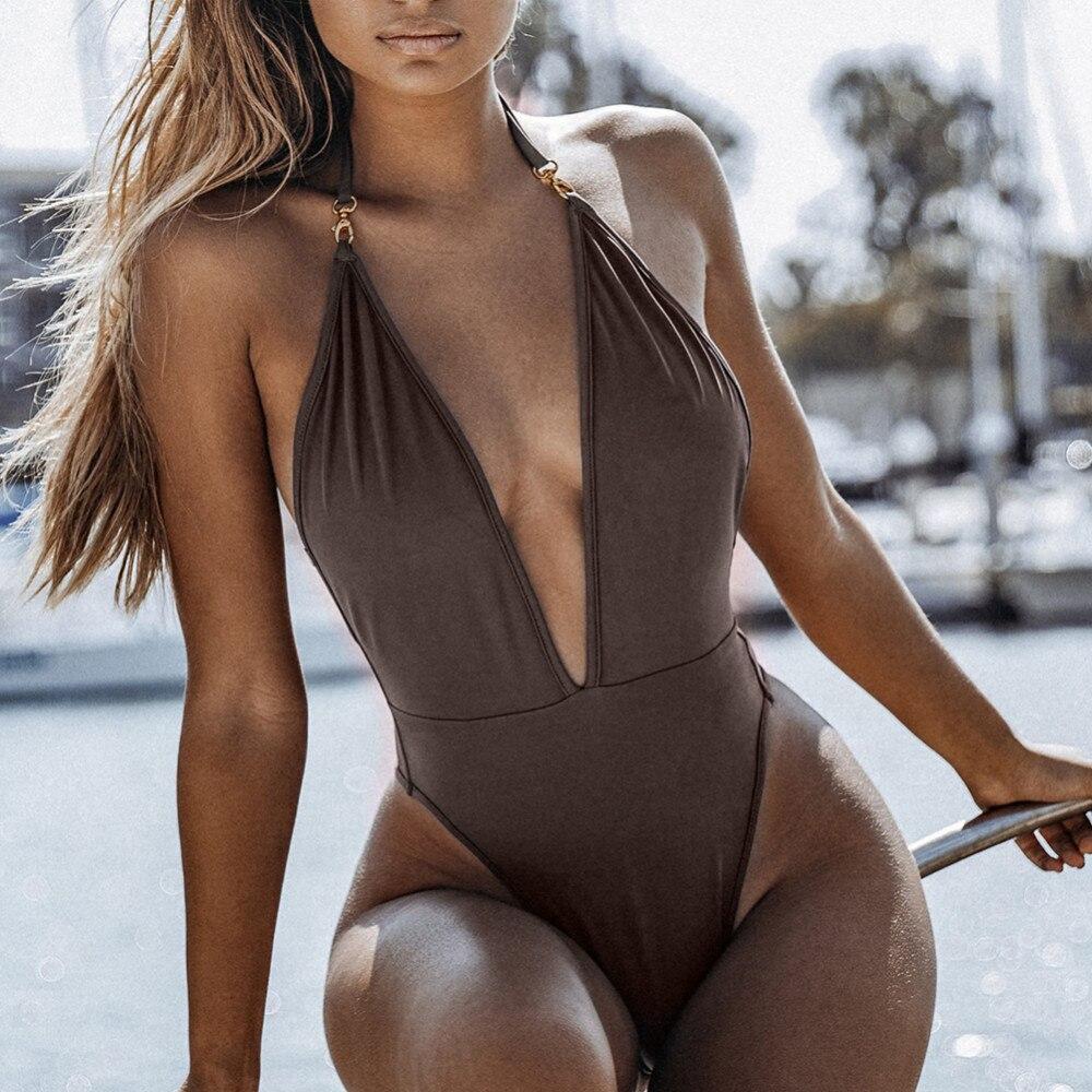 Sexy Summer Beachwear One-Piece Swimsuit Plain Low-Cut Deep V-Neck Backless Push Up Swimwear Thong Bikini For Women (M-XL) contrast color low cut v neck bikini top