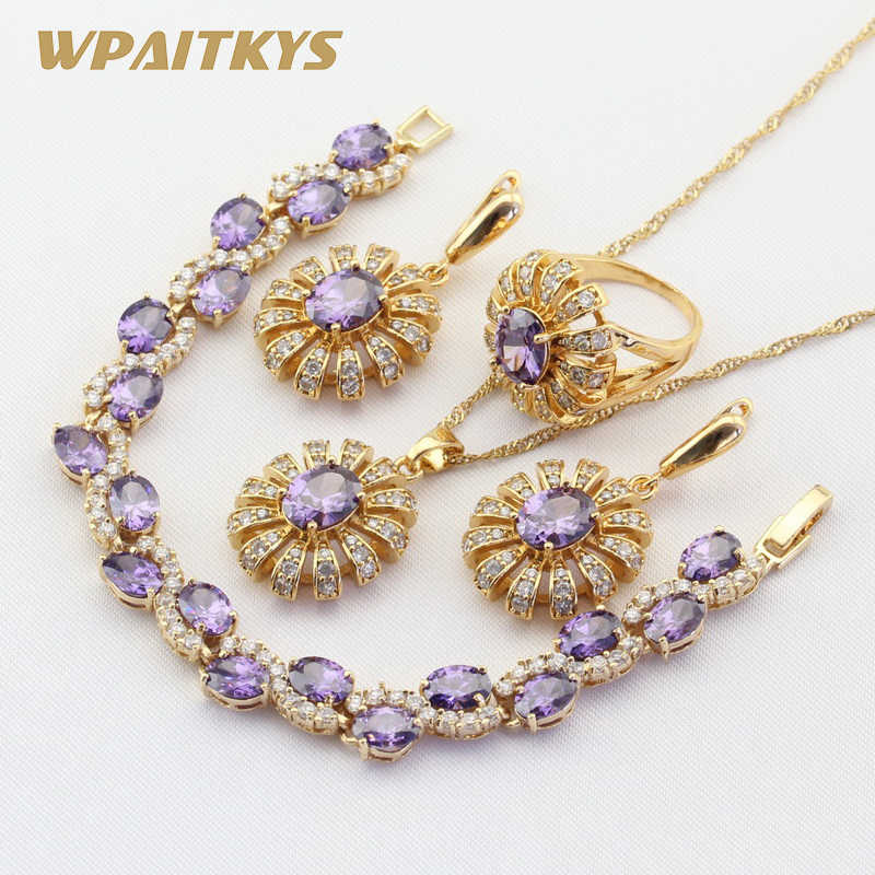 Gold Color Jewelry Sets For Women Wedding Purple Stones CZ Bracelet Earrings Necklace Pendant Rings Free Gift Box WPAITKYS