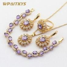 Conjuntos de jóias de cor de ouro para o casamento feminino roxo pedras cz pulseira brincos colar pingente anéis caixa de presente livre wpaitkys
