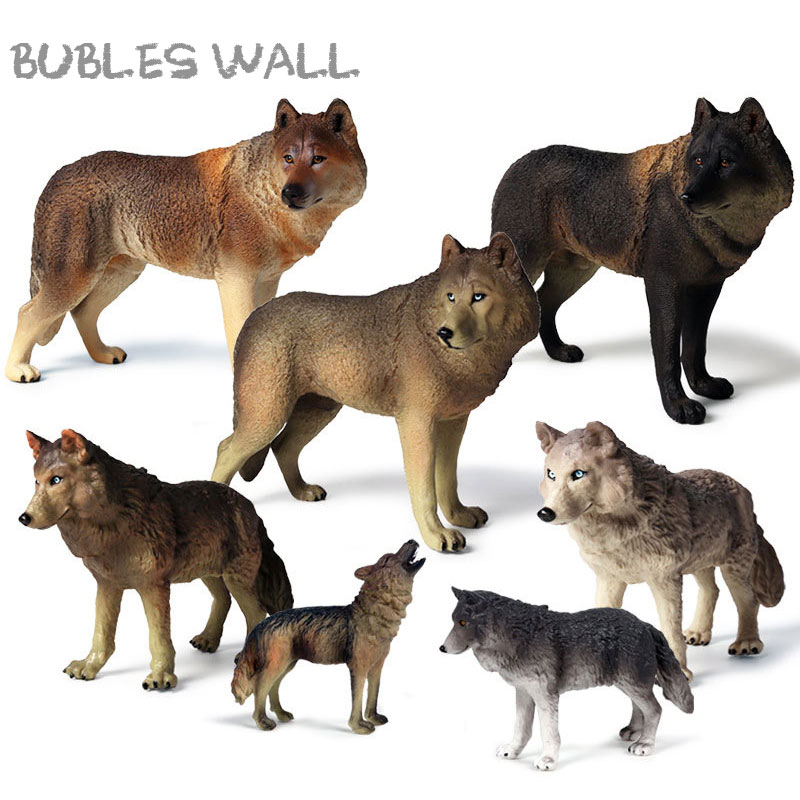 Wolf Model Child Simulation-Model World-Toys Ancient-Animals for 13-Types Gifts Wild