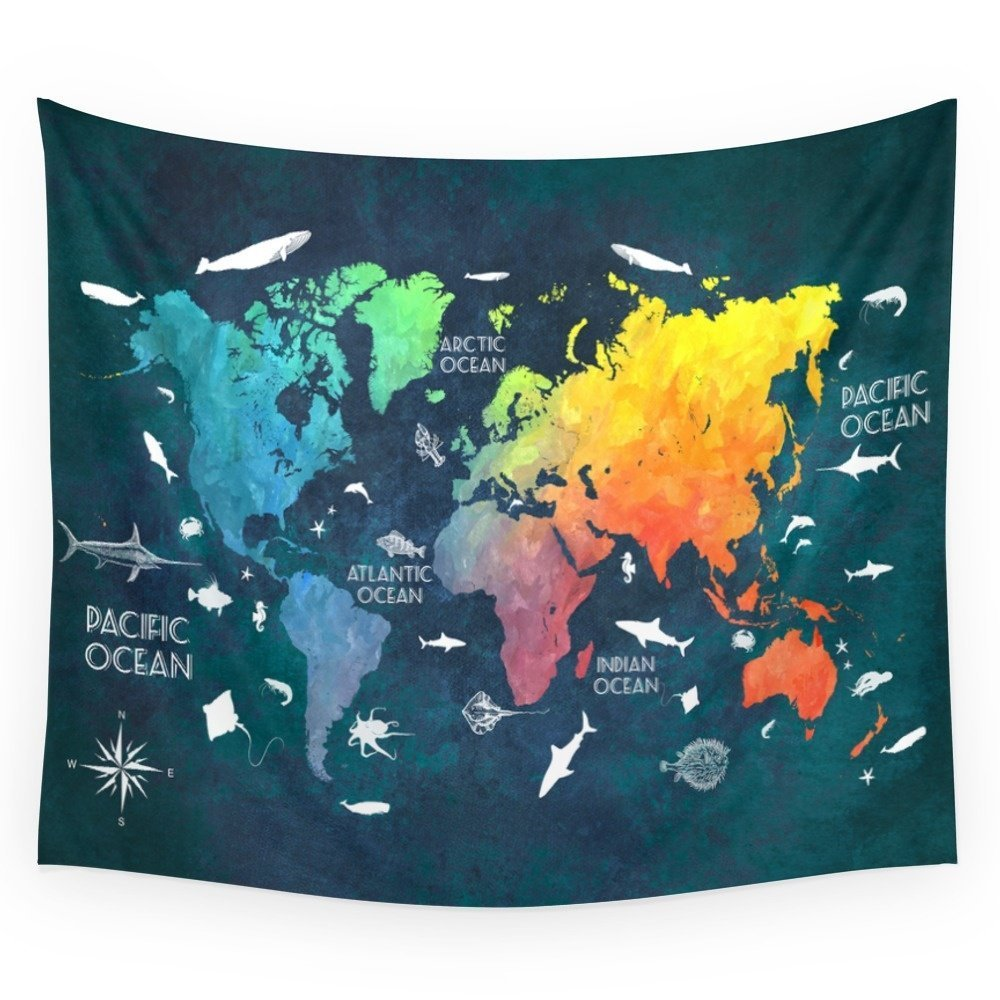 Ocean World Map Color Wall Tapestry Wedding Party Gift Bedspread Beach Towel Yoga Picnic Mat