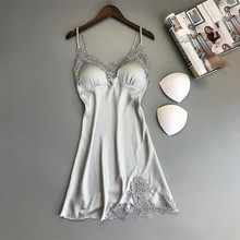Girl Silk Nightgown Summer Lace Night Dress Sleepwear Babydoll Nightie Satin Hom