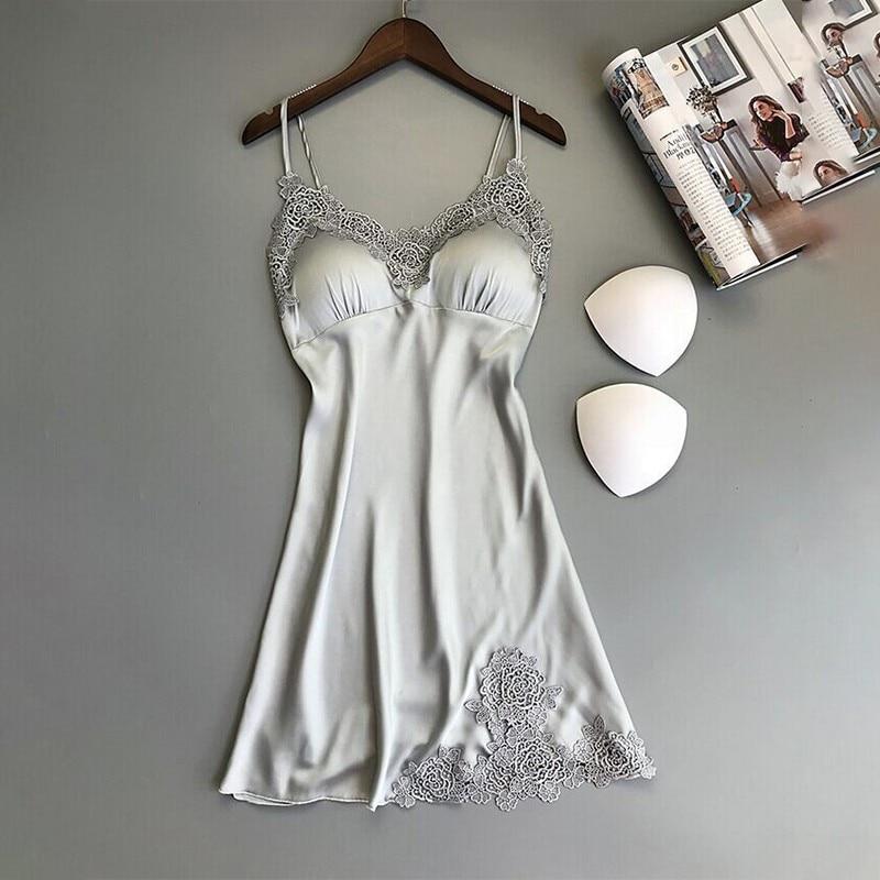 Girl Silk Nightgown Summer Lace Night Dress Sleepwear Babydoll Nightie Satin Homewear Chest Pad Nightwear 8