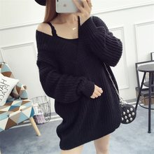 cb4d84da1e New Style Korean Style Women Sweater V Neck Loose Knitted Pullover Big Size  Women Winter Jumper