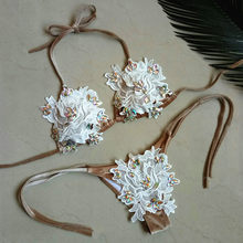 Floral Bikinis Set 2019 Women Brazilian Bikinis Jewelry Strappy Biquinis High Cut Thong Swimwear Swimsuit Maillot De Bain(China)
