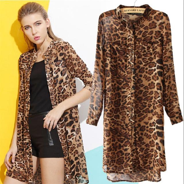 Women Blouse 2015 New Fashion Women Long Sleeve Chiffon Shirt Leopard Stand Collar Casual Loose Blouse Top Autumn