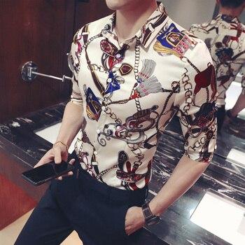 골드 키 체인 꽃 프린트 셔츠 슬림 피트 한국 의류 남성 chemise homme 꽃 파티 클럽 chemise homme plus size 5xl