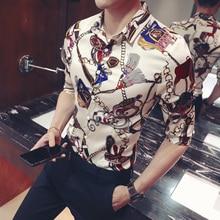 Złoty brelok kwiatowy Print koszula Slim Fit koreańskie ubrania mężczyźni koszulka Homme kwiatowy do klubu na imprezę koszulka Homme Plus rozmiar 5xl