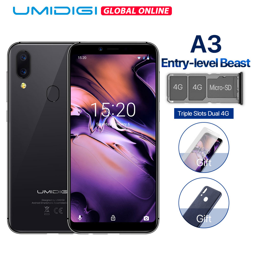 "UMIDIGI A3 Global Band Dual 4G 5.5""incell HD+display 2GB+16GB Mobile Phone Quad Core Android 8.1 Face Unlock 12MP+5MP Smartphone"