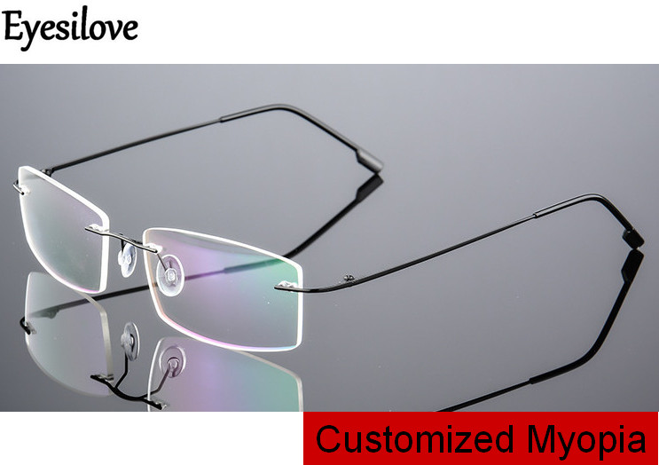 Eyesilove customized myopia glasses for men women rimless frame prescription glasses near-sighted mopia eyeglasses single vision(China)