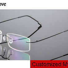 Eyesilove customized myopia glasses for men women rimless frame prescri