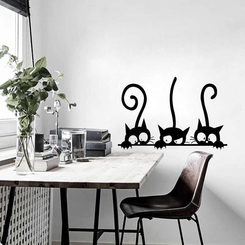 Indah Tiga Kucing Hitam DIY Stiker Dinding Hewan Dekorasi Kamar Kepribadian Vinyl Stiker Dinding