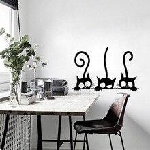 Pegatinas de pared animales DIY de tres gatos negros encantadores, decoración de habitación, pegatinas de vinilo de personalidad para pared