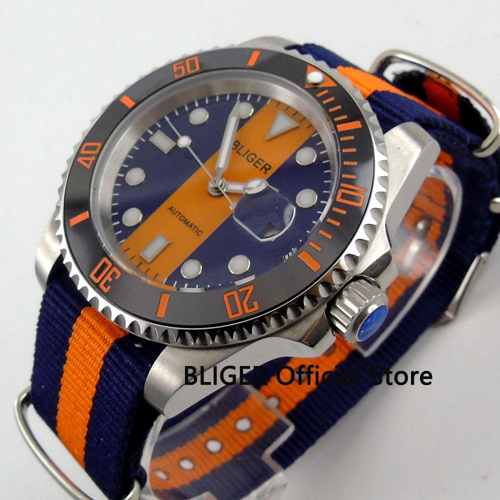 Fashion 40MM BLIGER Orange Blue Dial Ceramic Bezel Wrist Watches Sapphire Crystal MIYOTA Automatic Movement Men
