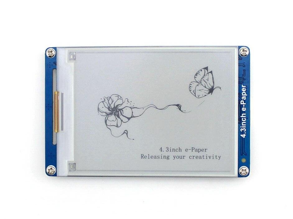 Waveshare 4.3 pouces e-paper UART Module e-ink écran LCD, résolution 800x600, 4 graphiques géométriques d'affichage de niveau de gris, textes, images