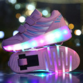 Children LED Light Shoes With Wheels Spring/Autumn Fashion Kids Light Up Shoes Roller Sports Sneaker Casual Cool Wheelie Shoes