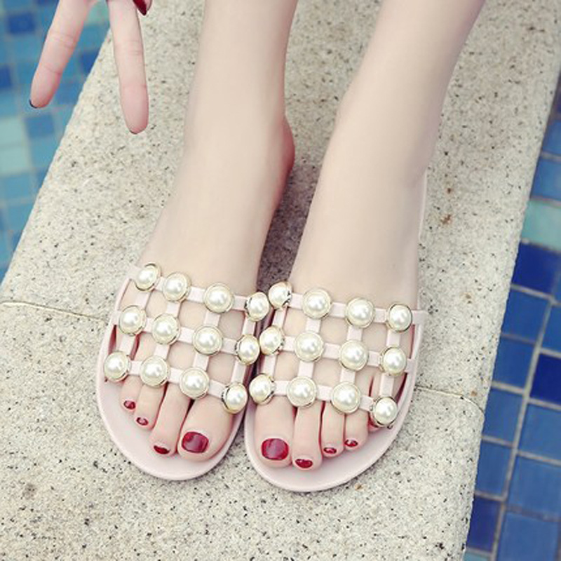 Women Slippers Summer Female Casual Beach Flat Sandals Outdoor Pink Black Ladies Girls Fashion Bling Pearl Slides