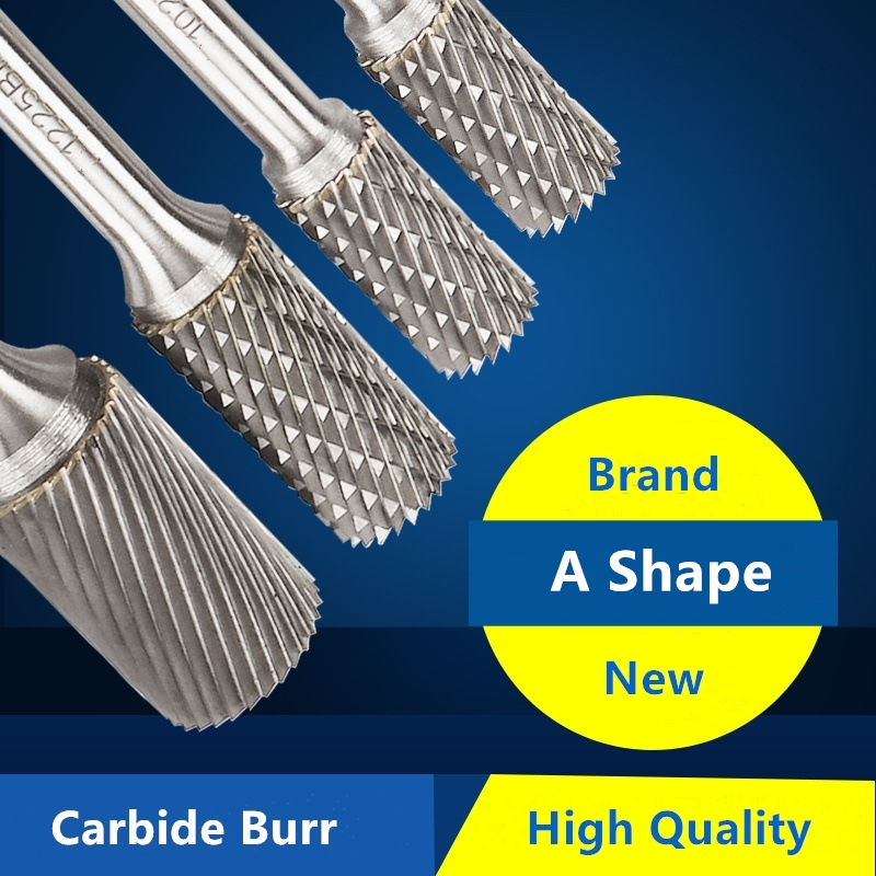 A Shape Tungsten Carbide Burr File With 1/4 Inch(6MM) Shank Cylinder Shape Metalworking Bit For Rotary Die Grinder,1pcs