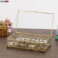 Nordic Gold Grid Glass Flip Storage Tank Box Luxury Modern Jewery Cosmetics Storage Box Container Micro landscape Flower Room