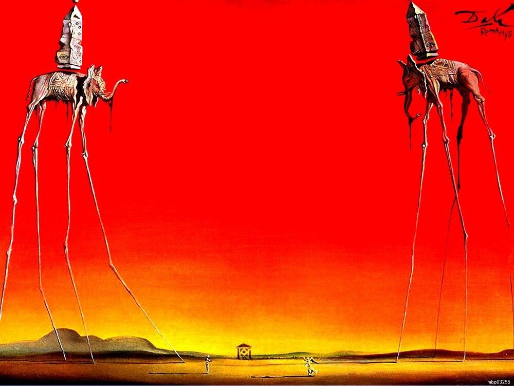 Salvador Dali The Elephants 1948 Surrealism Painting Fine Art Huge Print Poster TXHOME D5701