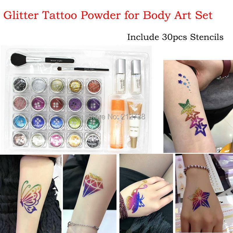 20 pcs Glitter Tattoo Powder for Body Art Temporary Tattoo body painting Kit Brushes Glue Stencils free shipping