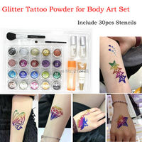 20 pcs Glitter Tattoo Powder for Body Art Temporary Tattoo body painting Kit Brushes Glue Stencils free shipping