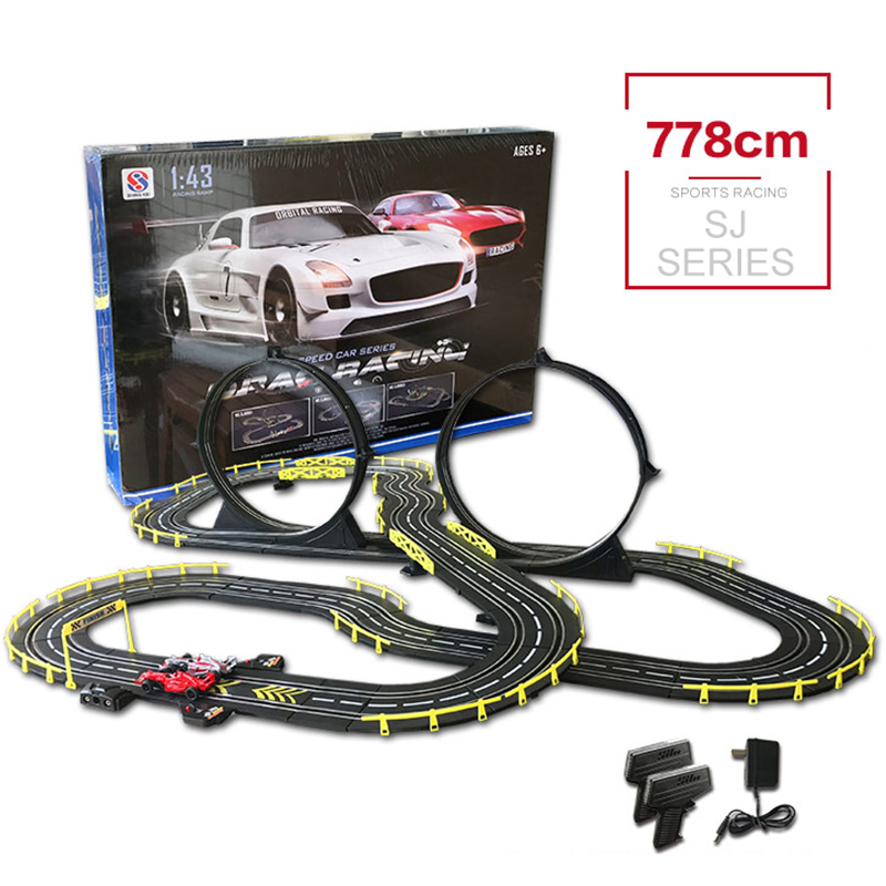 1:43 RC Track Car Toy Electric Wired Remote Control Funny Car Track Racing Interactive Toys With 2 Cars For Children's Gift
