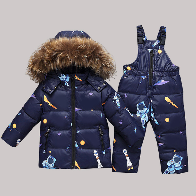 d39b8d5ee parka real Fur hooded boy baby girl duck down jacket warm kids snow ...