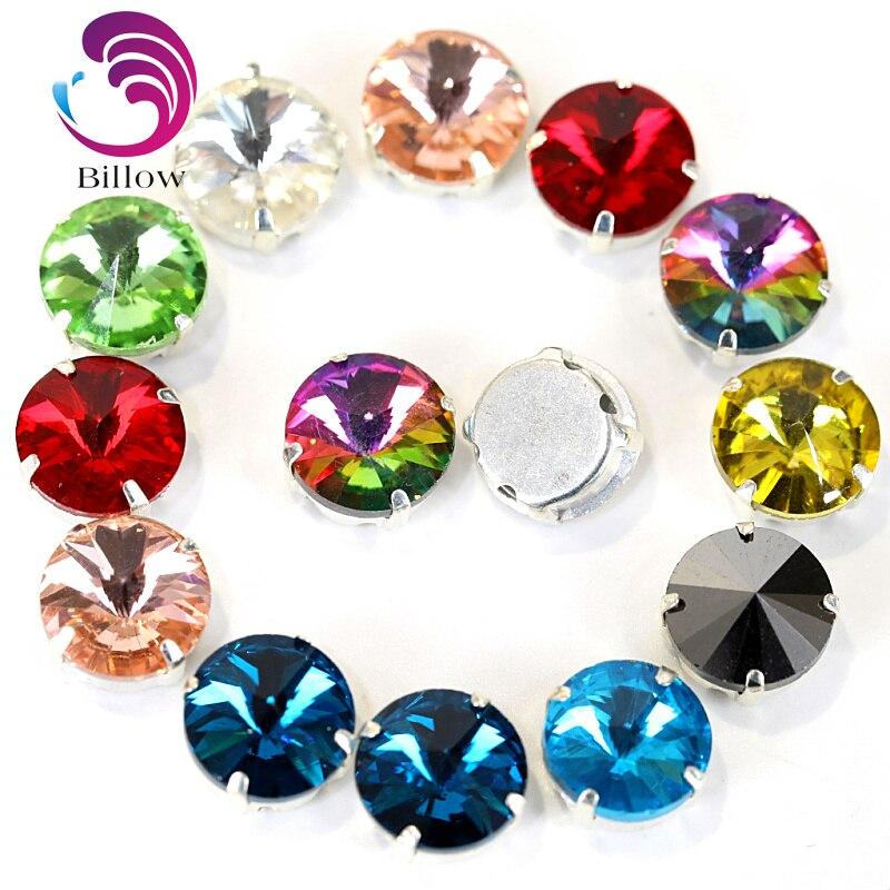 Round Rivoli Colorful Crystal Glass Strass Sew On Rhinestones With Claw  Crystal Round Sew On Claw f6b31b8d9af8