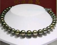 noble women gift 17INCH GOLD CLASP HUGE17 10 11MM real Black Pearl Necklace AAAA women gift silver jewelry
