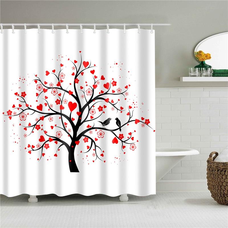 cortina de bano heart prints polyester shower curtains waterproof bath screens for bathroom home decoration bath curtains