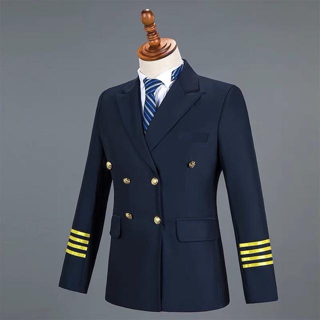 2019 Brand Blue  Men Suits Fashion Military  Pilot suit Blazers Business Wedding Male Tuxedo